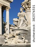 Small photo of VIENNA, AUSTRIA - FEBRUARY 6, 2016:Pallas Athene Fountain in front of parliament (detail). Allegorical representation of most important river Danube of Austro-Hungarian Empire