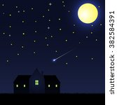 a house in night sky with with...   Shutterstock .eps vector #382584391