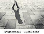 investigator shadow walking in... | Shutterstock . vector #382585255