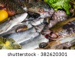 Fish And Seafood On Display In...