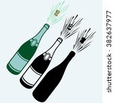 close up of champagne explosion.... | Shutterstock .eps vector #382637977