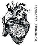 human heart. vector... | Shutterstock .eps vector #382640389