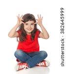 adorable girl having great time ... | Shutterstock . vector #382645999