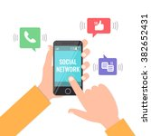 social network and smartphone... | Shutterstock .eps vector #382652431