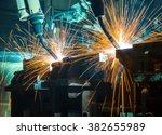 welding robots movement in a... | Shutterstock . vector #382655989