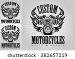 set of vintage motorcycle... | Shutterstock .eps vector #382657219