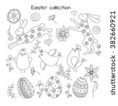 collection of doodle easter... | Shutterstock .eps vector #382660921