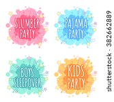 kids party logo. four badges... | Shutterstock .eps vector #382662889