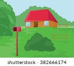 house with red roof and mailbox ... | Shutterstock .eps vector #382666174