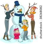 Family building Snowman - Vector - stock vector
