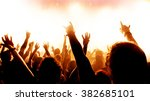 silhouettes of concert crowd in ... | Shutterstock . vector #382685101