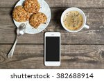 morning coffee with cookies on... | Shutterstock . vector #382688914