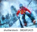 snowboarder take a selfie.... | Shutterstock . vector #382691425