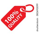 100  quality tag. red color.... | Shutterstock .eps vector #382693099