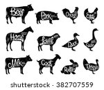 Stock vector set of butchery logos farm animals with sample text retro styled farm animals silhouettes 382707559