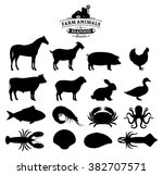 vector farm animals and seafood ... | Shutterstock .eps vector #382707571