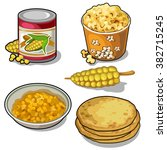 thematic set of food from corn. ...   Shutterstock .eps vector #382715245
