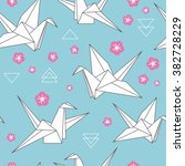 origami cranes seamless pattern | Shutterstock .eps vector #382728229