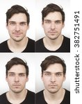 Stock photo collage photos young man close up for id passport photo identification 382751491