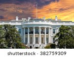 White House On Deep Red Sunset...