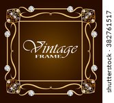 vintage gold frame with diamond.... | Shutterstock .eps vector #382761517