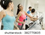 young people training in the gym | Shutterstock . vector #382770835