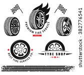 vector set of wheels  tires and ... | Shutterstock .eps vector #382776541