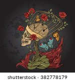 illustration with skull  bush...