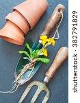 old gardening tools. clay pots  ... | Shutterstock . vector #382791829
