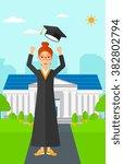 graduate throwing up his hat. | Shutterstock .eps vector #382802794