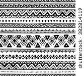 black and white seamless ethnic ... | Shutterstock .eps vector #382814119