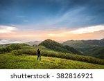 traveler standing on the top of ...   Shutterstock . vector #382816921