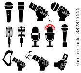 microphone icons set on white... | Shutterstock .eps vector #382819555