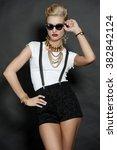 chic blonde fashion model on... | Shutterstock . vector #382842124