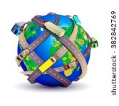 earth with many roads and... | Shutterstock .eps vector #382842769