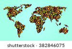 colorful veggie food map with... | Shutterstock .eps vector #382846075