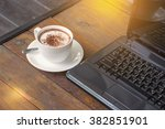 a cup of hot chocolate  and... | Shutterstock . vector #382851901