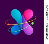 x letter with atoms orbits.... | Shutterstock .eps vector #382859641