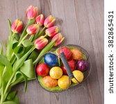 Easter Eggs And Tulips. Festiv...