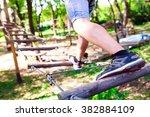 adventure climbing high wire... | Shutterstock . vector #382884109