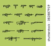 set of firearm and weapon... | Shutterstock .eps vector #382887919