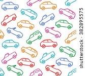 car doodles pattern seamless... | Shutterstock .eps vector #382895575