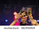 cheerful young company... | Shutterstock . vector #382900909