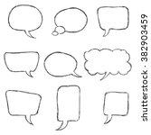 black hand drawn speech bubble... | Shutterstock .eps vector #382903459
