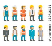 flat design construction... | Shutterstock .eps vector #382916191