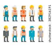 flat design construction... | Shutterstock .eps vector #382916191