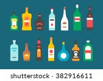 flat design alcohol bottles... | Shutterstock .eps vector #382916611