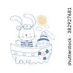 rabbit sailor vector...   Shutterstock .eps vector #382927681