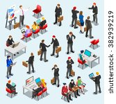 Businessman network isolated Business market management infographic element icon Sale lead Finance set office Meeting work place 3D Isometric People sit person desk bank stock exchange manager vector | Shutterstock vector #382939219