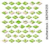 isometric city park furniture.... | Shutterstock .eps vector #382939255